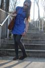 Blue-shirt-dress-thrifted-dress-light-blue-cropped-jean-calvin-klein-jacket