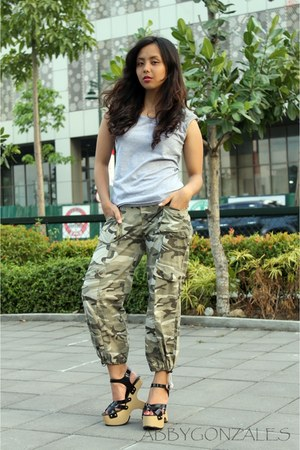silver studded Folded and Hung top - forest green camo HK Brand pants
