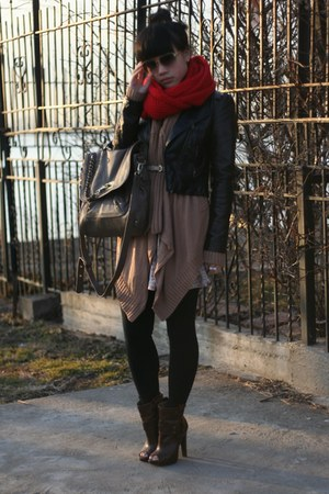 dark brown Jessica Simpson boots - black H&amp;M jacket - red Madewell 1937 scarf - 