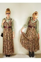 camel floral dress Dress dress - dark brown quilted purse purse bag