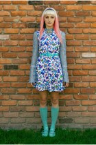 blue floral vintage dress - aquamarine knee highs thrifted socks
