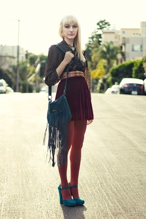 coral opaque Urban Outfitters tights - teal suede Urban Outfitters bag