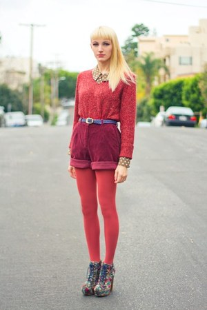 maroon corduroy thrifted shorts - coral knitted thrifted sweater