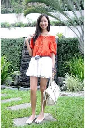 balenciaga bag - banana republic necklace - Esprit top - Zara flats - Zara skirt