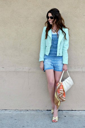 denim kensie romper - mint H&M jacket - white American Apparel top