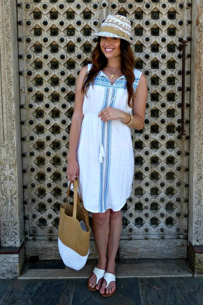 embroidered TJMaxx dress - fedora Target hat - tote Target bag