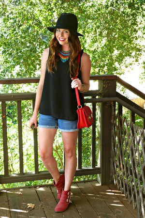 red Forever 21 boots - fedora Target hat - denim Forever 21 shorts