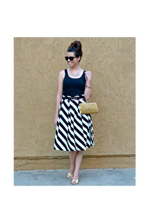 stripes Downeast Basics skirt - Warby Parker sunglasses - tank top Gap top