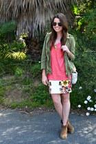 floral Forever 21 skirt - army Zara jacket - snakeskin H&M bag