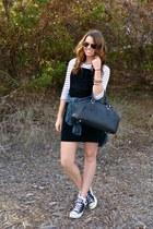 striped talbots t-shirt - black suede overalls Sisley dress