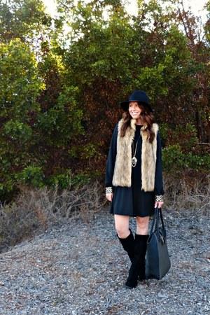 black Lola Minx dress - suede Shoedazzle boots - fedora Target hat