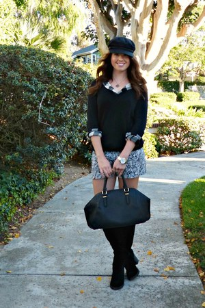 bowler Zara bag - suede Shoedazzle boots - printed Loft shorts
