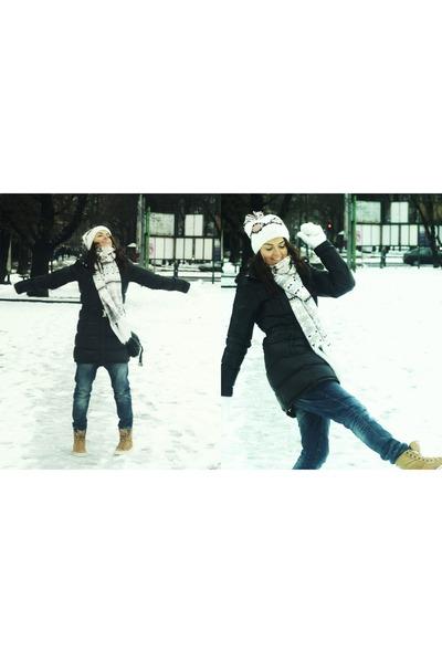 black adidas jacket - white H&M scarf - tawny adidas sneakers