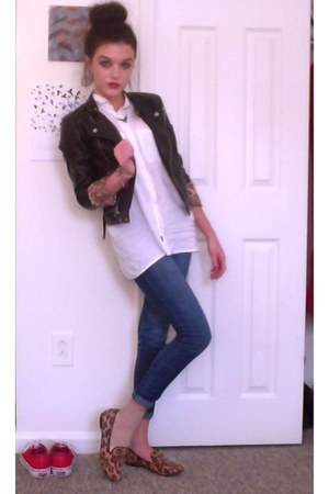 Forever21 jacket - Rue 21 shirt - denim jeggings hollister pants