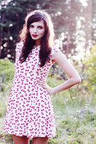 red bow print asos dress - periwinkle Monki flats