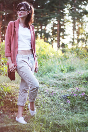 salmon H&amp;M blazer - dark brown leather H&amp;M bag - beige chinos Monki pants - whit