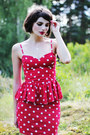 Red-polka-dot-gina-tricot-dress-white-lace-lindex-socks-black-h-m-heels