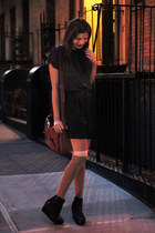 dark brown leather satchel Vero Moda bag - black satin Monki shorts - silver ove