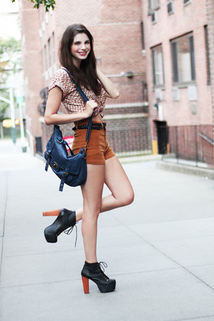 burnt orange corduroy Forever 21 shorts - blue Forever 21 bag