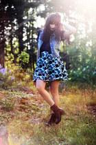 black Nilson boots - navy transparent Monki shirt - sky blue denim thrifted vint