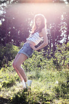 striped printed Zara shirt - blue denim Monki shorts - white Converse Allstars s