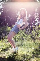 striped printed Zara shirt - blue denim Monki shorts - white Converse Allstars s