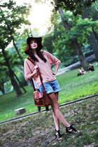 crimson floppy asos hat - dark brown leather satchel Vero Moda bag - light blue