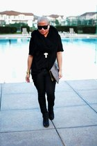 cross necklace Forever 21 necklace - booties H&M boots - waxy pants H&M jeans