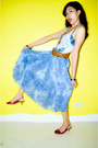 Blue-zara-top-blue-maxi-skirt-skirt-brick-red-american-eagle-sandals