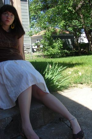 yellow Claires accessories - brown old as sin t-shirt - yellow thrifted skirt -
