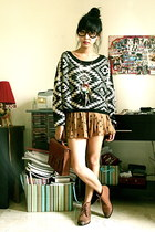 tribal Sheinside sweater - leather Zara boots - satchel H&M bag