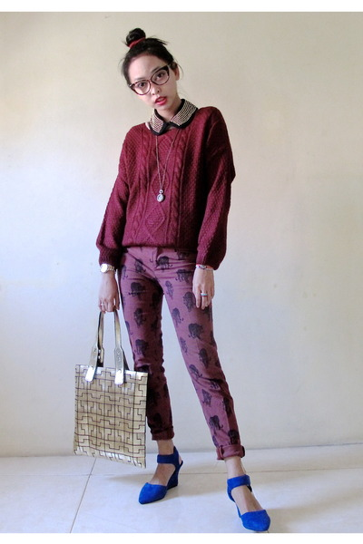 gold iRoo bag - maroon Zara pants