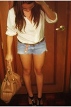 Brooks Brothers blouse - hollister shorts - Topshop purse