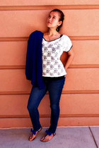 skinny Aeropostale jeans - lace detail Wet Seal shirt - Charlotte Russe sandals