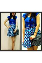 blue Topshop shirt - blue online skirt - black Mango shoes - gray Mango purse