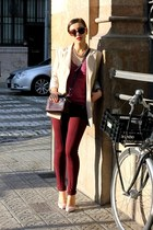 crimson Bimba & Lola bag - magenta Massimo Dutti sweater - beige Kenzo blazer