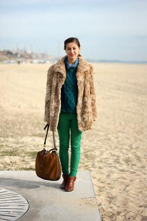 green Zara pants - dark brown Massimo Dutti shoes - forest green H&M sweater