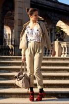 beige H&M coat - beige H&M pants - red Jimmi Choo for H&M heels