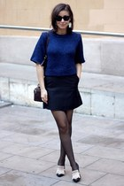 black Ray Ban sunglasses - navy H&M sweater - black H&M Trend skirt