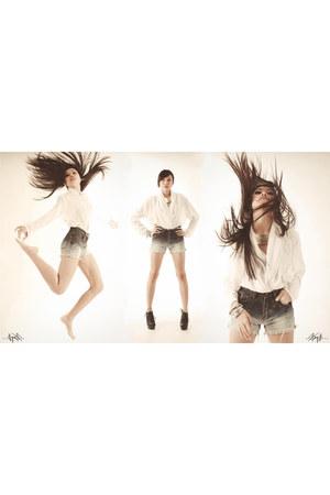 galaxy DIY shorts - silk Zara blouse