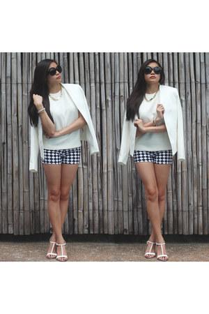 white Topshop blazer - checkered landmark shorts - black Amazon sunglasses