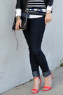 Stripe-lulu-guinness-x-uniqlo-t-shirt-forever-21-jeans-h-m-hat