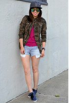 camo Zara jacket - SF Giants hat - stripe Forever 21 shorts - H&M sneakers