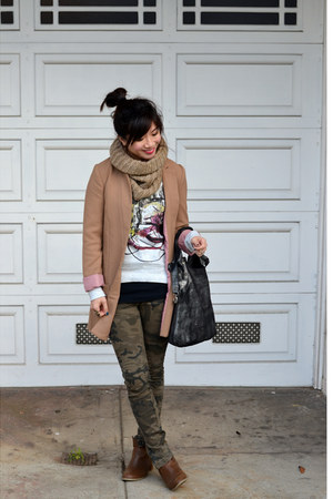 camo Zara pants - Old Navy boots - camel H&amp;M jacket - knit H&amp;M scarf