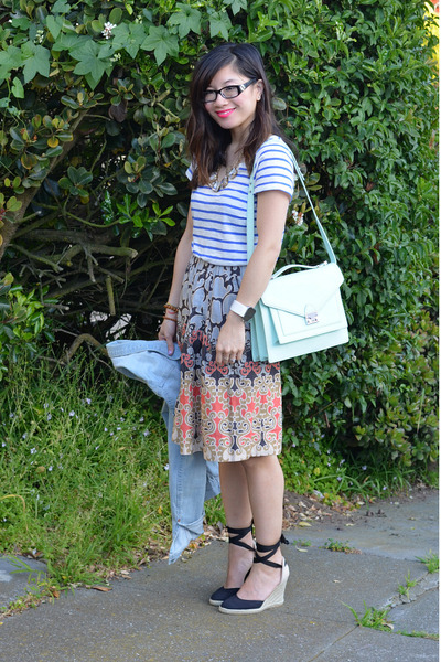Anthropologie skirt - Tommy Hilfiger shoes - H&M jacket - loeffler randall bag