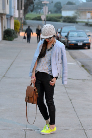 H&M hat - blue Zara jacket - willis coach bag - neon Keds sneakers