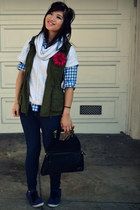 f21 jeans - H&M shirt - Betsey Johnson bag - Gap top - Old Navy vest