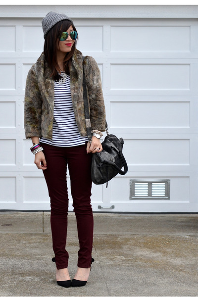 Zara jeans - H&M hat - faux fur thrifted jacket - stripe H&M shirt