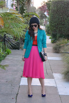 teal H&M blazer - Rebecca Minkoff bag - pink midi H&M skirt - orange Target top