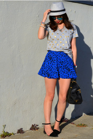 Forever 21 skirt - Target hat - polka dot Gap shirt - Prada bag